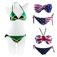 swimwear uk - Plus Size S XXL Jamaica Flag USA UK Print Brazilian Swimwear Padded Swim Suit Women Push Up Sexy Bikini Set