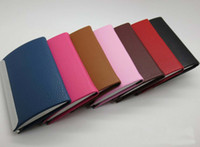 Wholesale Pretty leather business card cases for promotional gift Mix color cases for choose Model NC005