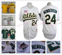 athletics world - Rickey Henderson Jersey Oakland Athletics World Series White Yellow Green Throwback Vintage