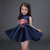 Wholesale 2016 Flower Girl Dresses Elegant Navy Red Colors Baby Clothes Floral A Line Dresses For Girls Sleeveless Kids Clothing Drop Shipping