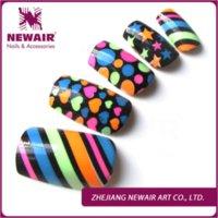 Wholesale 24pcs colorful pattern airbrush false nails art artificial fingernails shiny nail tips fashion full cover fake nails press ons