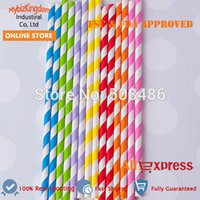 Wholesale Your Choose Color Paper Striped Straws Sucker For Party Favor