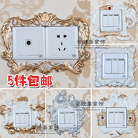 Wholesale European style garden lace resin switch stickers switch sets of special Korean creative home pastoral socket outlet posted
