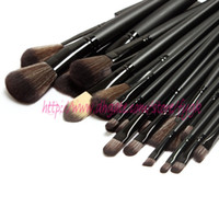 Wholesale 2015 hot sale The Best Quality Makeup brushes Professional Make up Tools goat hair kit of Cosmetic Set Brush Black Leather Bag