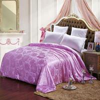 Wholesale purple Rose printed Quilt mulberry silk winter comforter queen king size blanket Duvet throw