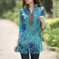 Wholesale New Summer Floral Print Chiffon Shirt Dress Plus Size Vintage Women Clothing Three Quarter Sleeve Loose Tops Casual Blusas