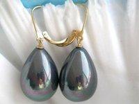 aa platinum - gt gt gt gt gt Charming X16MM black AB shell pearl earring AA SA