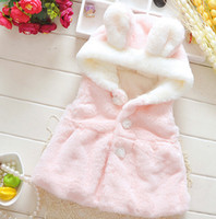 Wholesale 2015 Baby Girls Jacket girls vest skirt solid color vest Super Meng plush rabbit ears Faux Fur Kids Girl Fall Winter Fashion Waistcoat