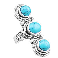 antique look rings - Fashion Jewelry Vintage Look Tibet Alloy Antique Silver Plated Fantastic Three Turquoise Rings TR198D