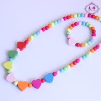 Cheap CHILDREN JEWELRY SET 2015 Girls Mixed Color Wood Beads Necklace Bracelet Set New Baby Kids Gifts 15sets lot