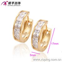 huggies - 18K Gold Plated Earrings for Women Hot Sell Huggies Inlay White Zircon Xuping Fashion Environmental Copper Jewelry Earrings