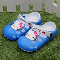 animal baby slippers - 6 Pairs cute hello kitty child beach slippers small girl hole shoes mules kids baby slip resistant breathable sandals