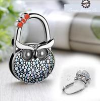 Wholesale Portable Lady Women Folding Bag Purse Handbag Holder Hook Hanger Bag Accessorie Owl Design colorful cartoon Christmas Gift