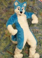 Wholesale Blue fox Long hair mascot costume Fancy Dress Halloween party costume Carnival Costume