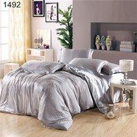 beddings and linens - Dropshippig Silk and Cotton Beddings Coffee Set Bed Linen Roupas de Cama Stripe Duvet Covers Imitation Silk