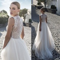 Cheap 2016 Julie Vino Beach Wedding Dresses with Luxury Beaded Sequined Illusion Jewel A Line Chapel Train Bridal Gowns Arabic Designer Plus Size