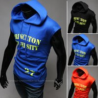 Wholesale summer men sleeveless vest male tight undershirt Korean male hooded vest men stretch