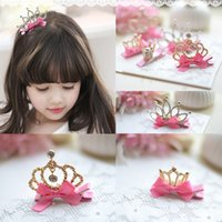 fashion children hair clip - Fashion Children Crystal Bow Tiara Hair Accessories Lovely Crown Princess Birthday Hair Clips Headdress For