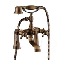 antique clawfoot tubs - Antique bronze Brass Deck Mounted Clawfoot Shower Tub Mixer Faucet Hand Shower Set bathroom tap toilet HJ