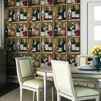 Cheap US Stock #6143-3D Faux Wine Shelf wallpaper 0.53m*10mclassical vinyl wallpaper for home Kitchen dinning room bar decoration