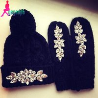 Wholesale 2015 Women s Fashion Warm Knitted Hat Glove Sets