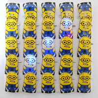 anime buttons pins - 800pcs Anime Yellow Pins Despicable Me Minions Cute Mini Brooches Led Lighting Gadget With Button Battery