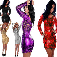 bar ladies night - Ladies Luxury Sequined Patent Leather Dress Hollow Out Catsuit Lady Gaga Sexy Nightclub Bar Dance Clothes Colors