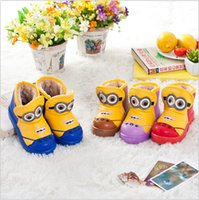 Wholesale 50 TOPB3894 color Children s minions Snow Boots Despicable Me Unisex Boots Warm Stable Winter Hardwearing Shoes minions waterproof boots