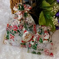 cute drawstring bag - 2015 Cute Christmas Gauze Candy Bag x12 x18 x30 Organza Bag Pouch Drawstring Bags Pocket Jewelry Packing Festival Gift Bag for Children
