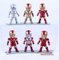 Wholesale 6pcs set Avengers Iron Man MK Egg Attack Iron Man Marvel Super Heros LED Flash PVC Action Figure Collection Model Toy