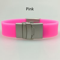 medical id - adjustable medical alert silicone stainless steel cuff bracelet with clasp and plate for engraving qr code