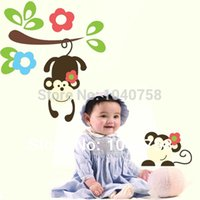baby photos wallpapers - Cartoon Monkey Wall Stickers Baby Wall Decals for Kids Rooms Home Decor Anime Poster Photo Wallpaper Kids Wall Paper Adhesive