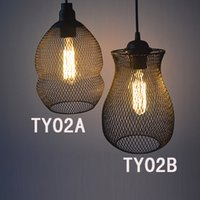 Wholesale traditional wire pendant lamps industrial wrought iron lampshade e27 with edison bulbs holder retro led hanging light