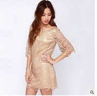 Wholesale European and American big temperament luxury wavy golden ornaments lined sleeves hollow dress haoduoyi