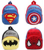 Wholesale KID s Cartoon Plush backpack bags superman Batman Shoulder bag Satchel bag student bags Schoolbag
