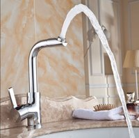Wholesale quot Kitchen Basin Sink Swivel Faucet Swivel Spout Mixer Tap Chrome Plated Brass Material KF