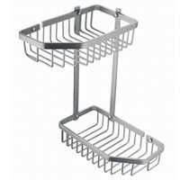 Wholesale Cody space aluminum bathroom bathroom storage basket brushed aluminum double bathroom corner basket LE130