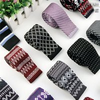 Wholesale Mens Neck Ties Fashion Mens Knitting and Printing Skinny Tie Hot Male Manual and Adjustable Necktie