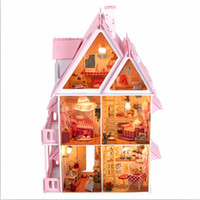 Wholesale Kits DIY Wood Dollhouse Villa Miniature With LED Furniture cover Magic Gift