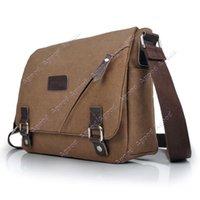 Wholesale Men s Brown Vintage Canvas Leather Shoulder Messenger Travel Hiking Bag Satchel SV002519