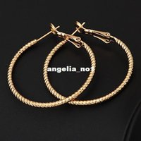 wholesale basketball wives earrings - High Quality Ring Hoop Style Earrings Jewelry Fashion K Real Gold Plated Basketball Wives Earrings V E2126