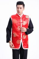 Wholesale Chinese Warm mens jackets red Tang Costume black fashion man tops tunics Traditional Chinese ethnic clothing