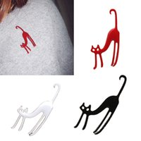 Wholesale Kimisohand New Hot Korean Fashion Colors Cute Cat Brooch Animal Cat Brooch Collar Pin Jewelry Black White Red