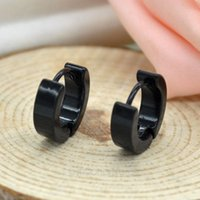 black stainless steel studs - 2015 New Unisex Women Men Stainless Steel Lovers Hoop Earring Ear Studs Fashion Circle Silver Black Jewelry MHM309