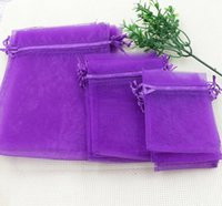 Wholesale MIC Purple x9cm X11cm X18cm Organza Jewelry Gift Pouch Bags For Wedding favors beads jewelry