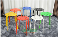 Wholesale Stool ikea meal stool color plastic stool eight hole pile up fashionable imitation tamar ryukyu high stool legs