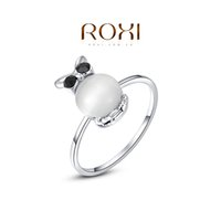 Cheap FG ROXI Brand Chirstmas Gift Platinum Plated Statement Wintersweet Wedding Opal Ring Fashion Jewelry For Women