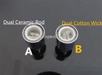 vase ceramic - Dual wax Coil ceramic rod replacment Core head e cigarette atomizer changeable wax dual coil head for Cannon Bowling Vase Glass Globe Tank
