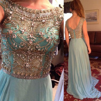 Wholesale 2015 Sheer Capped Beaded Crystal Bodice Chiffon Long Prom Dresses Evening Gowns with Short Sleeves A Line Backless Party Dresses