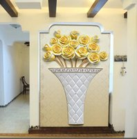 administration definition - Custom any size D wall mural wallpapers living room sofa entrance high definition relief simple Golden Rose wall paper